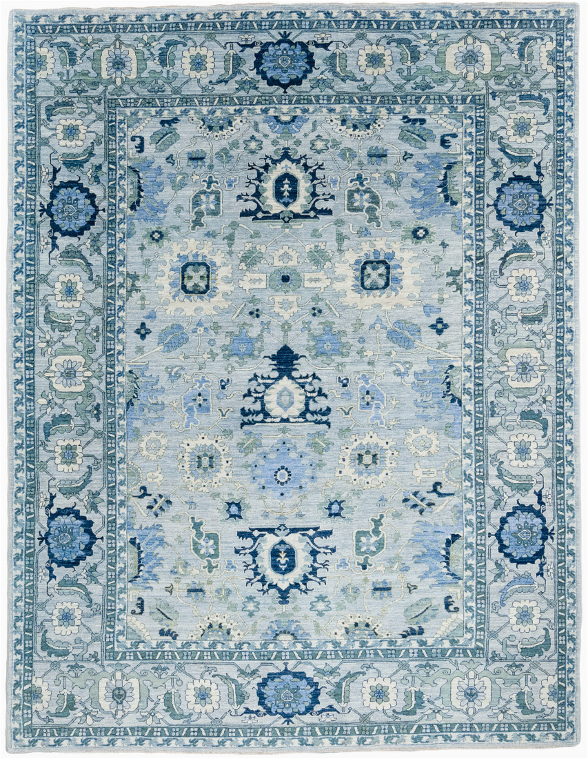 39749 luxe tribal heriz transitional blue green wool rug 90x118 afghanistan 1