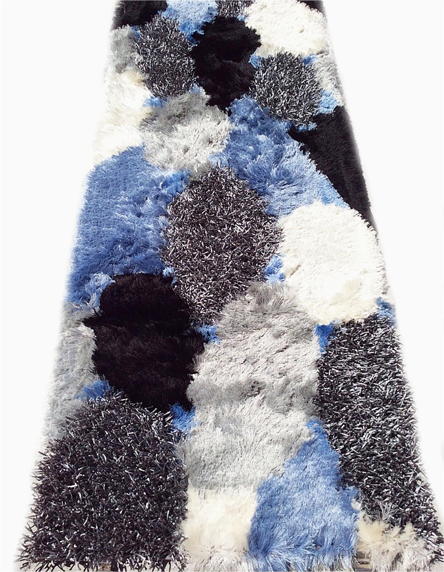 runner corydon abstract handmade shag blue white silver area rug