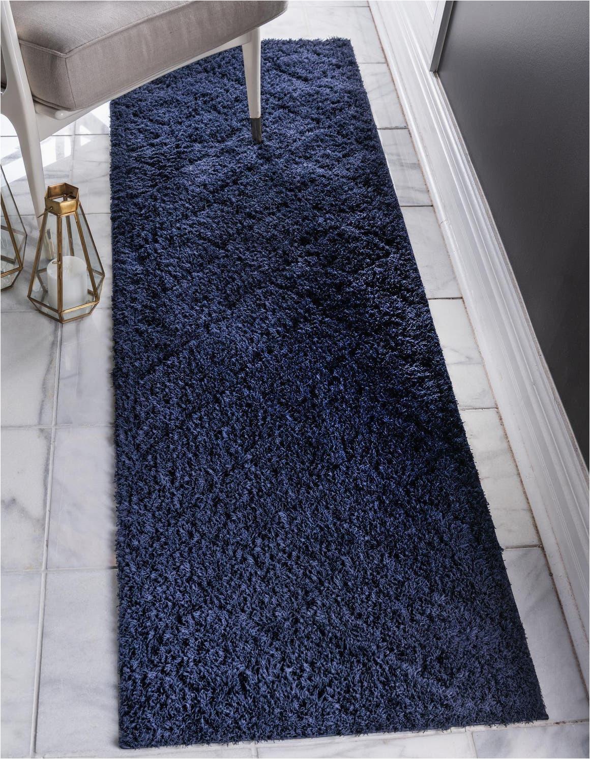 navy blue 10 ft runner lattice shag area rug 6266388