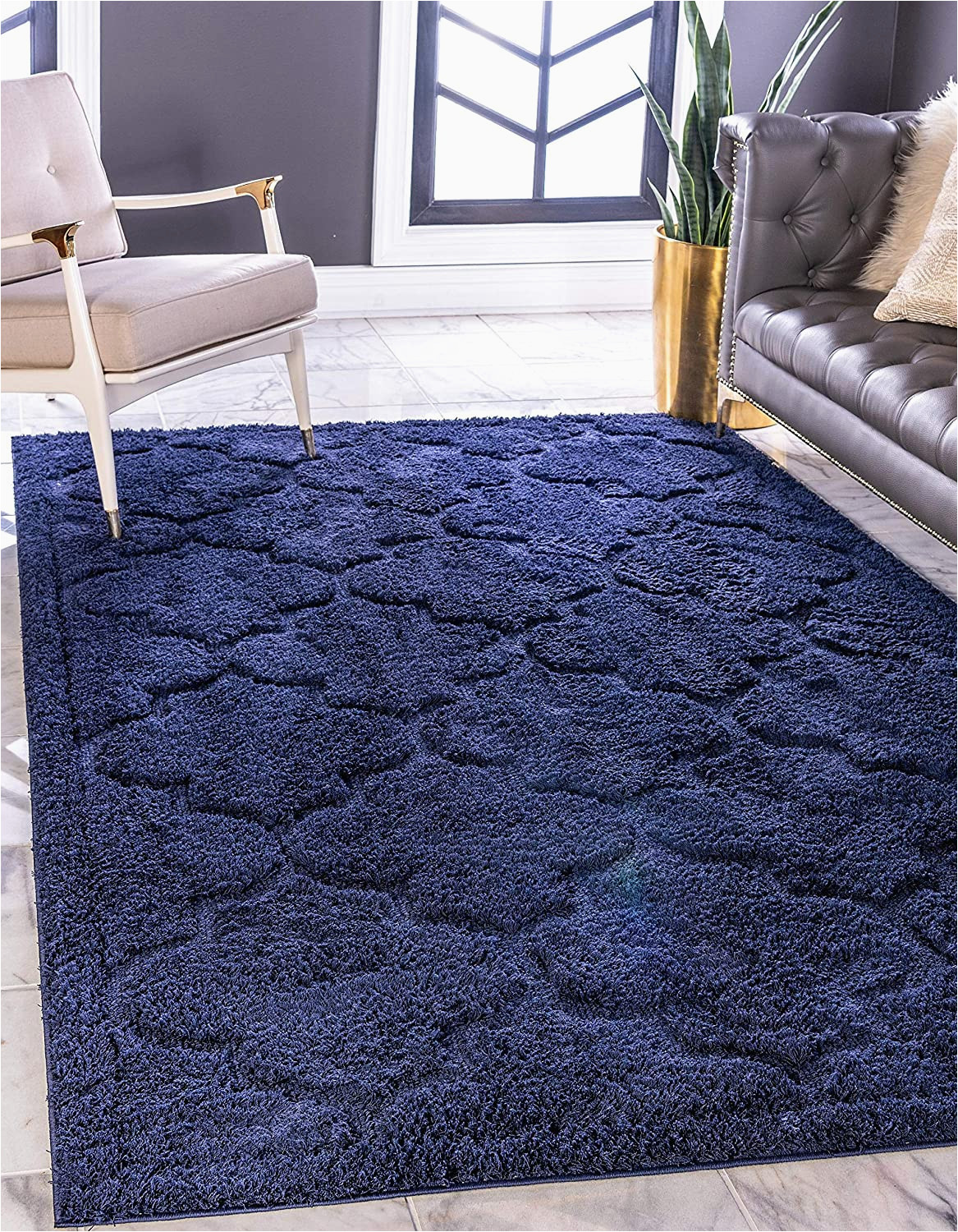 Dark Blue Fluffy Rug Unique Loom Trellis Shag Collection Plush Geometric Modern Moroccan Lattice Navy Blue area Rug 8 0 X 10 0