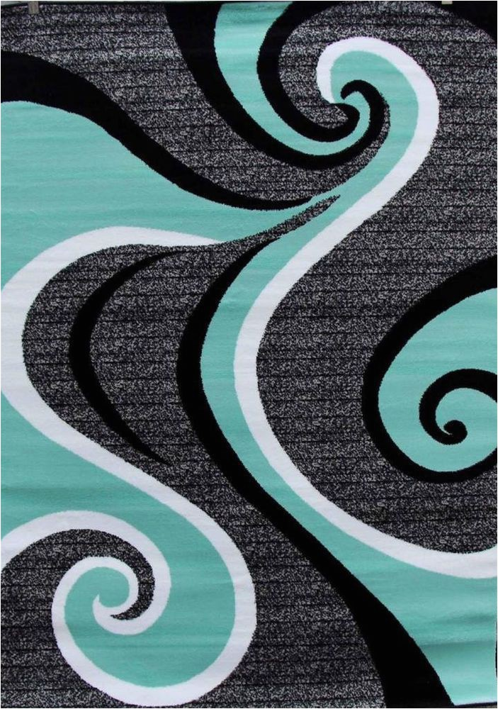 Dark Teal area Rug 5×7 Turquoise Swirls 5×7 area Rug Modern Contemporary Abstract