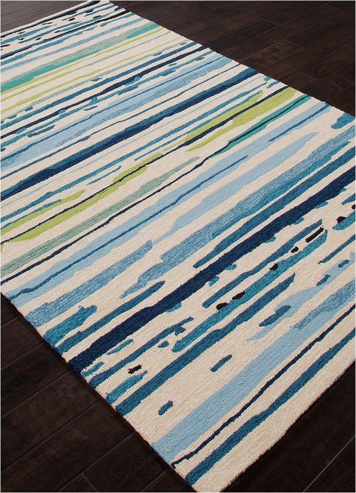 Hayes Blue area Rug 5×8 5 X 76 Designer Contemporary Blue Green Stripe