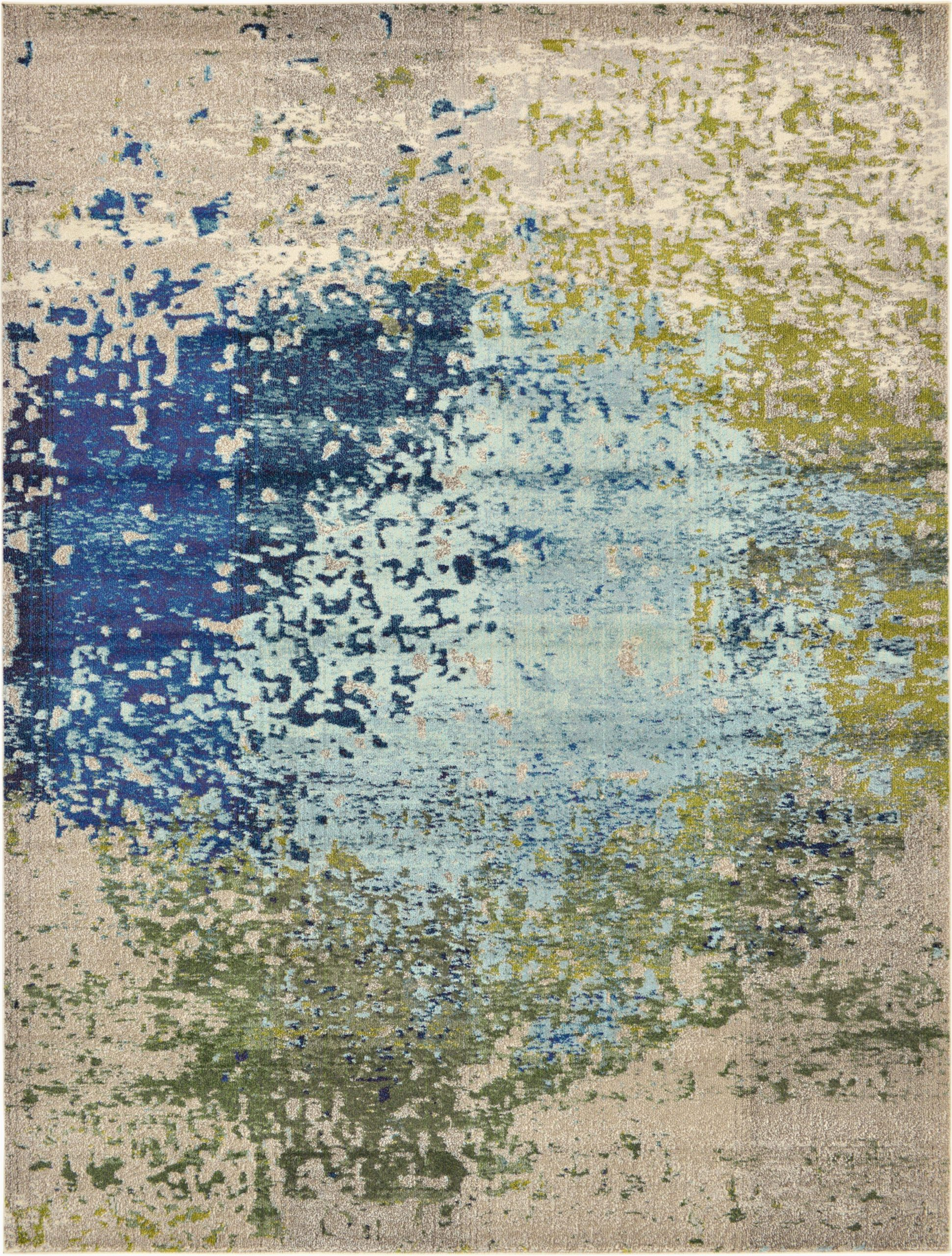 Hayes Blue area Rug Hayes Abstract Blue Green area Rug