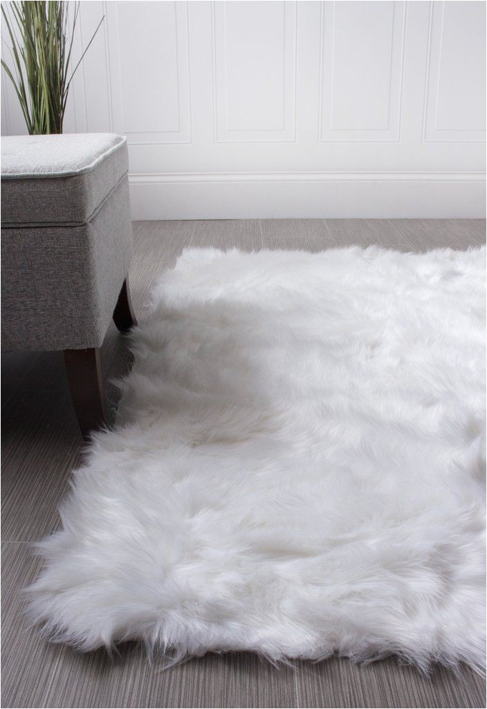 Large White Faux Fur area Rug Serene Faux soft Sheepskin Rug Ivory