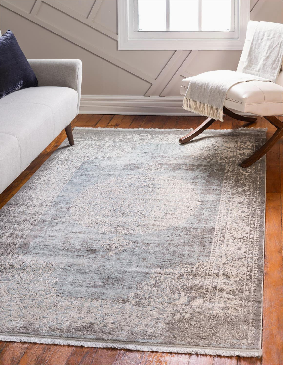 Light Blue Rug 9×12 9 X 12 New Vintage Rug