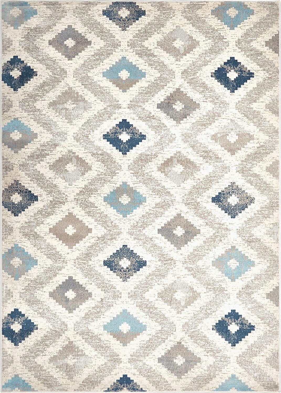 "Melrose Modern Geometric Ivory Blue area Rug by Home Dynamix Home Dynamix Melrose Maritza area Rug 6 6"" X 9 6"" Rectangle Blue Ivory"