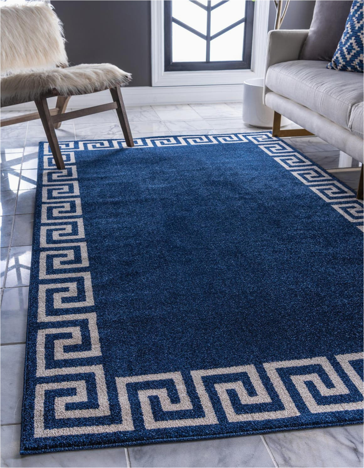 navy blue 3x5 greek key area rug 33123805