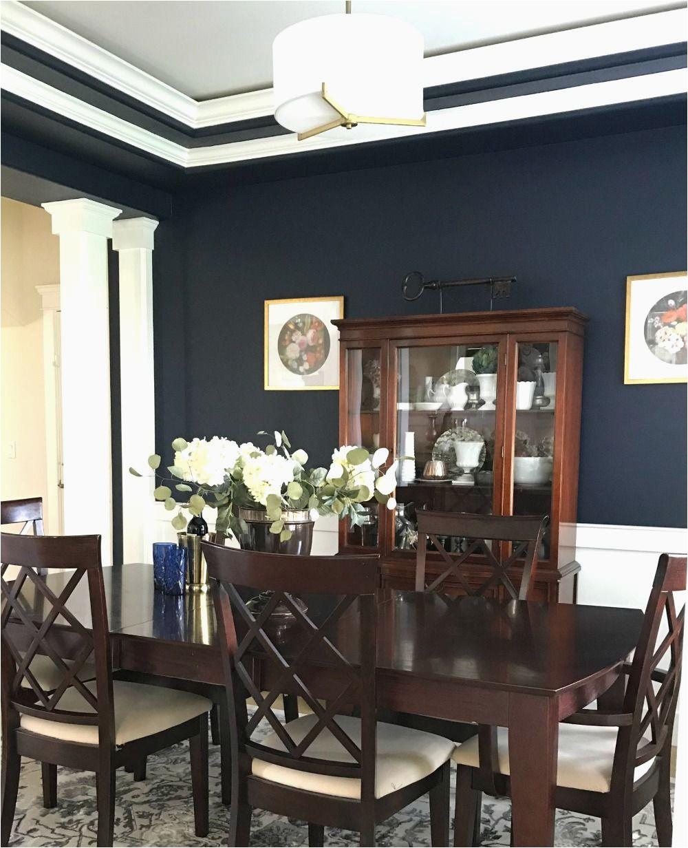 Navy Blue Dining Room Rug Dark and Moody Navy Blue Dining Room Reveal Dining Room