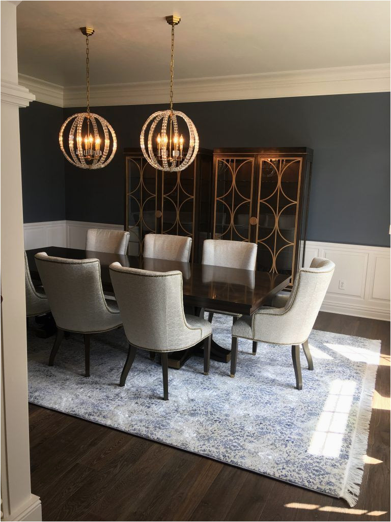 Navy Blue Dining Room Rug Dark Hardwood Floor with White and Light Blue Patterned area