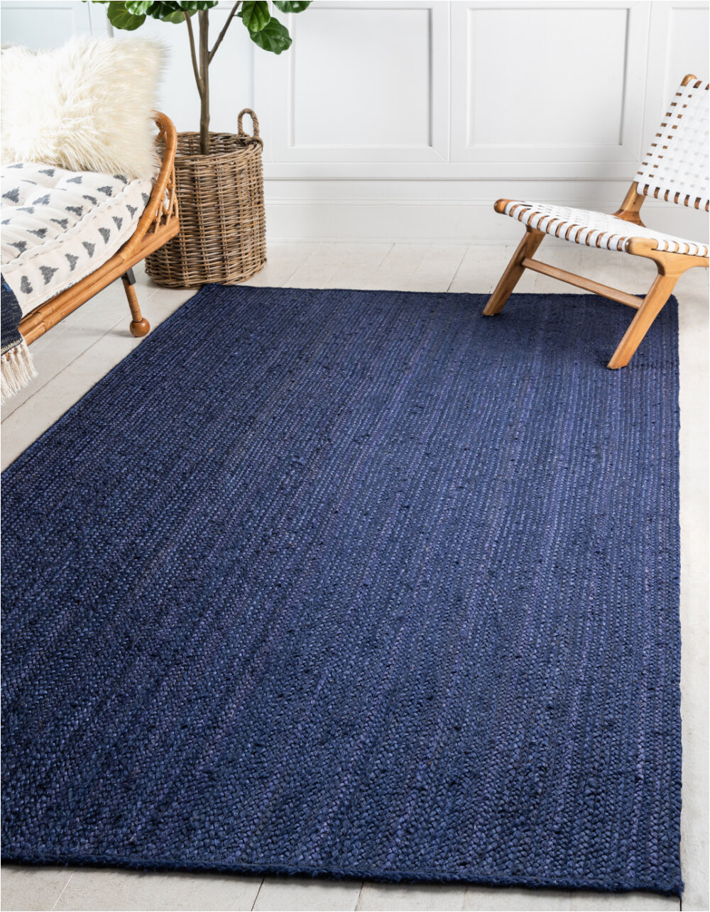Navy Blue Entry Rug Odense Hand Braided Navy Blue area Rug