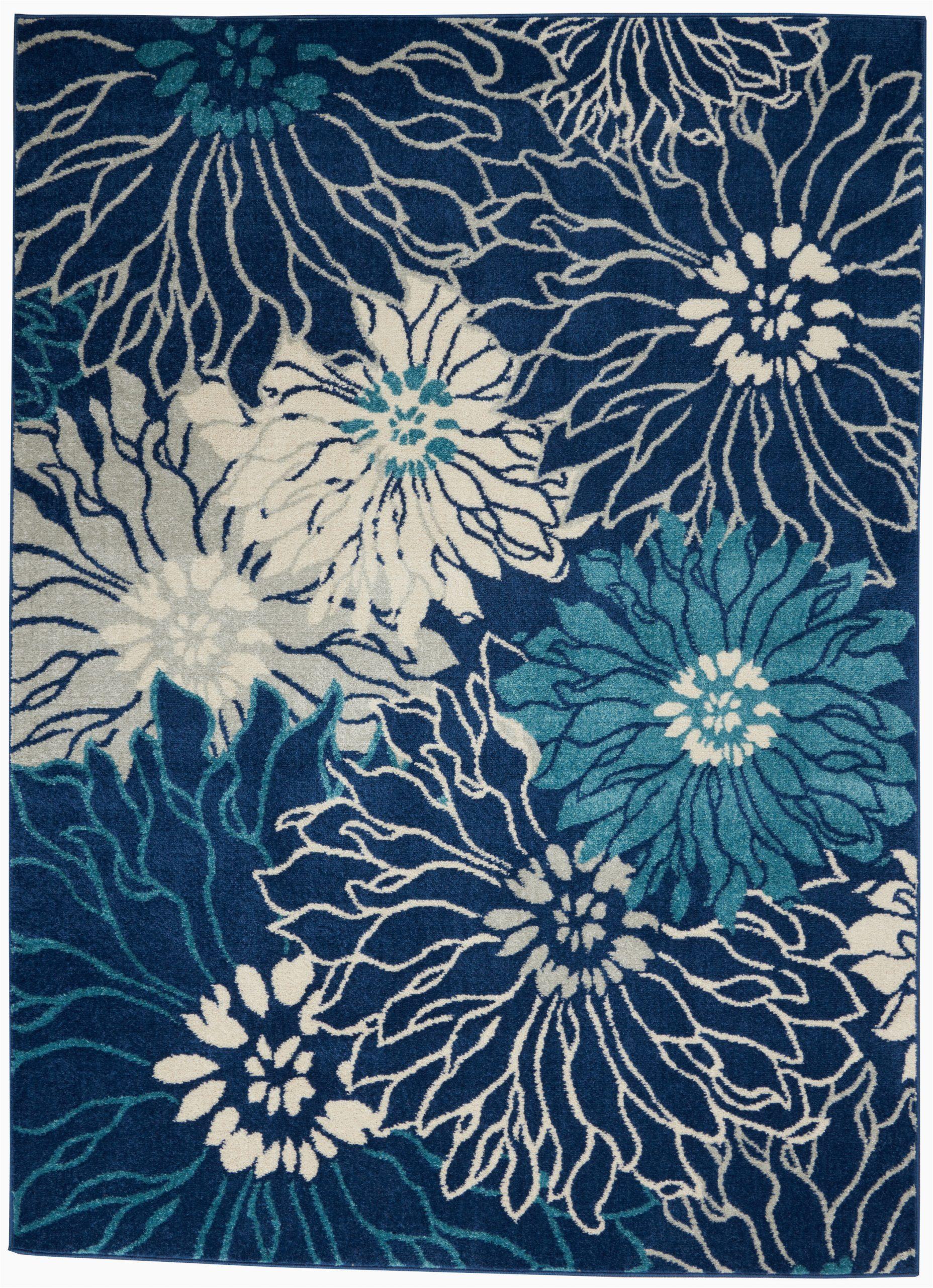 Navy Blue Floral Rug Cloutier Floral Navy Blue Ivory area Rug