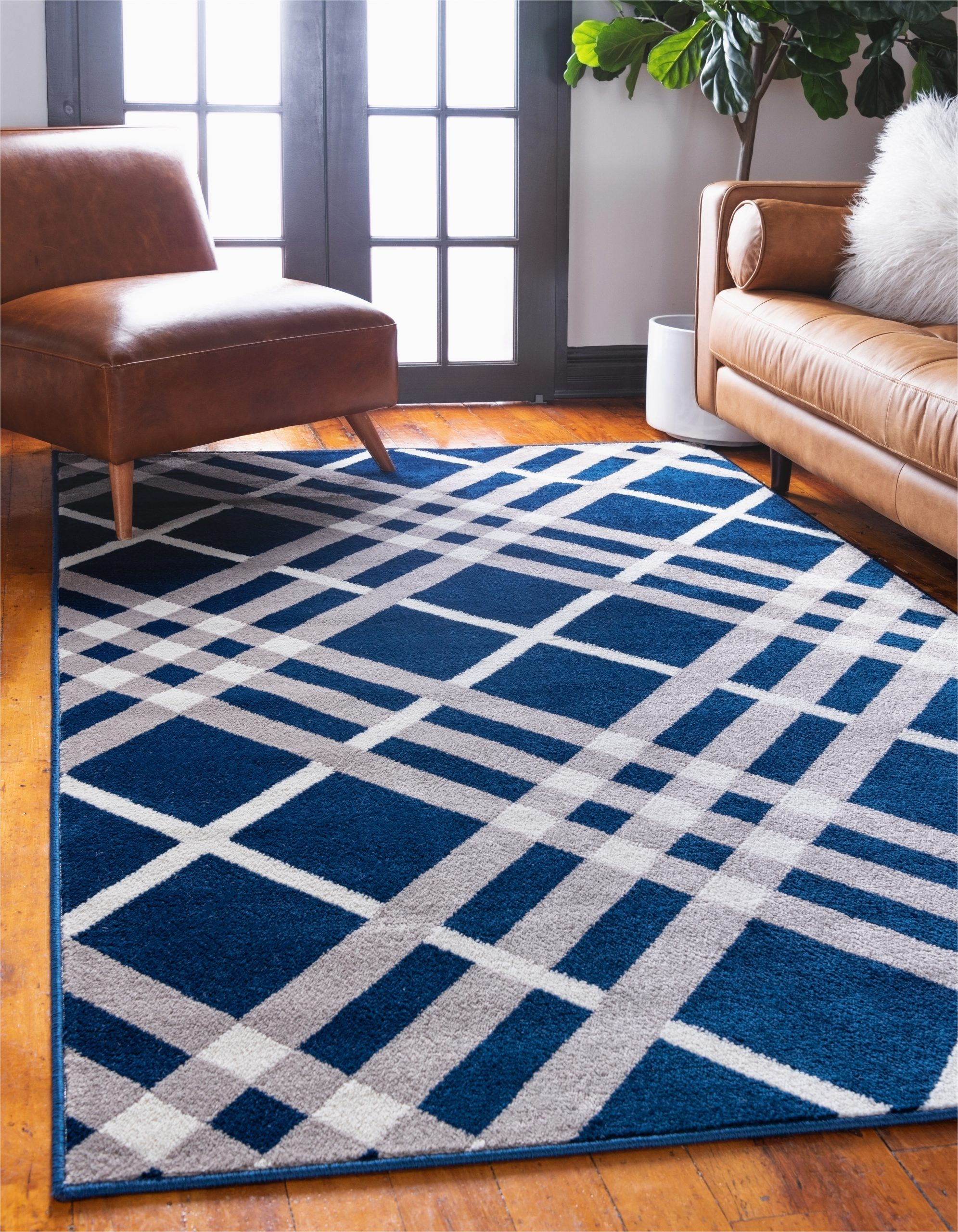 plaid navy blue area rug