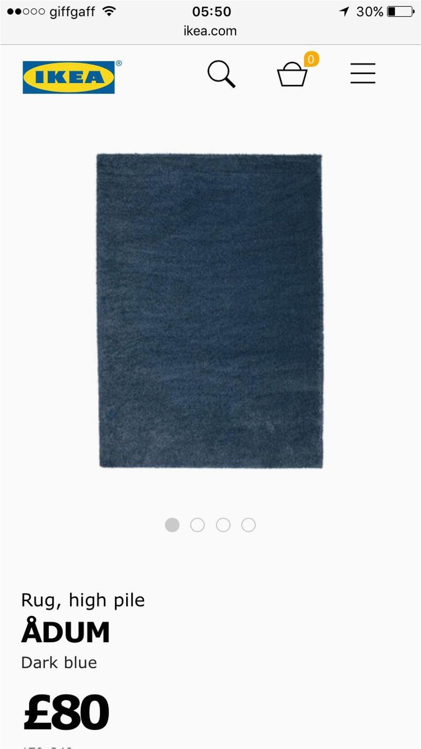 ikea adum rug dark blue 133x195cm