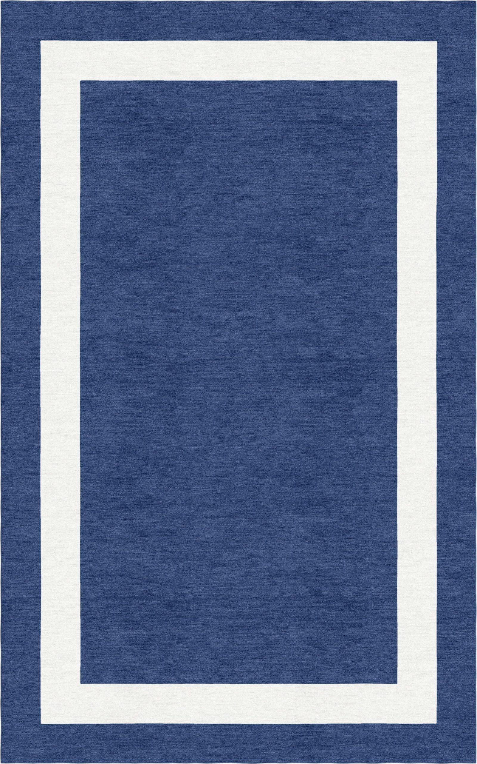 harlem border hand tufted wool navy bluewhite area rug