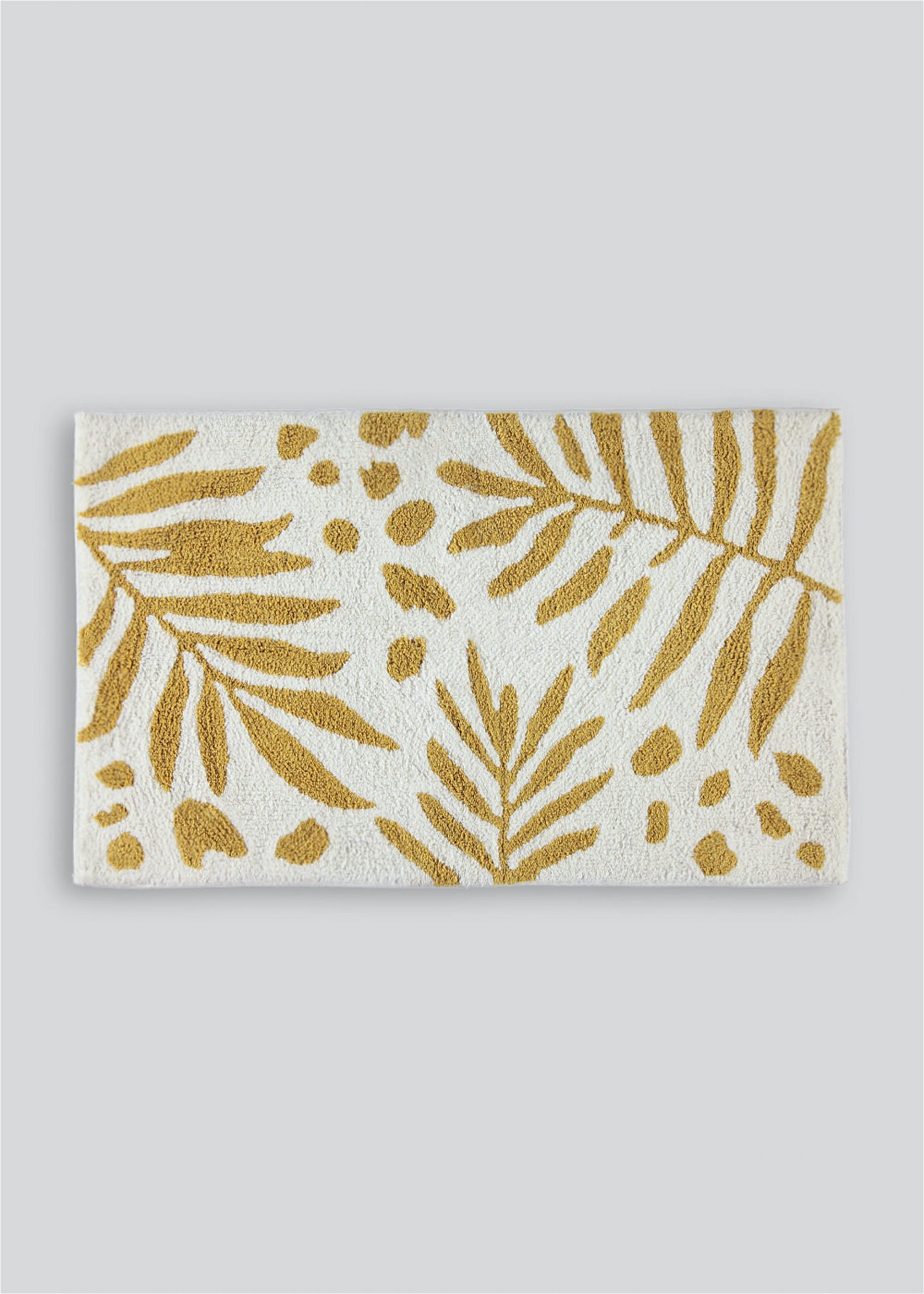 100 cotton palm leaf bath mat 80cm x 50cm ochre palm house