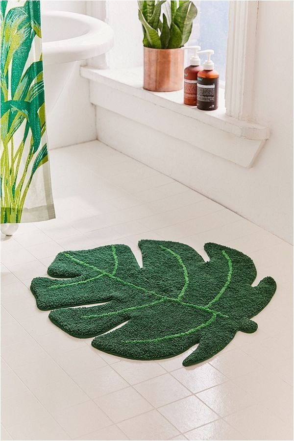 Palm Leaf Bath Rug Monstera Leaf Bath Mat Urban Outfitters Tropical