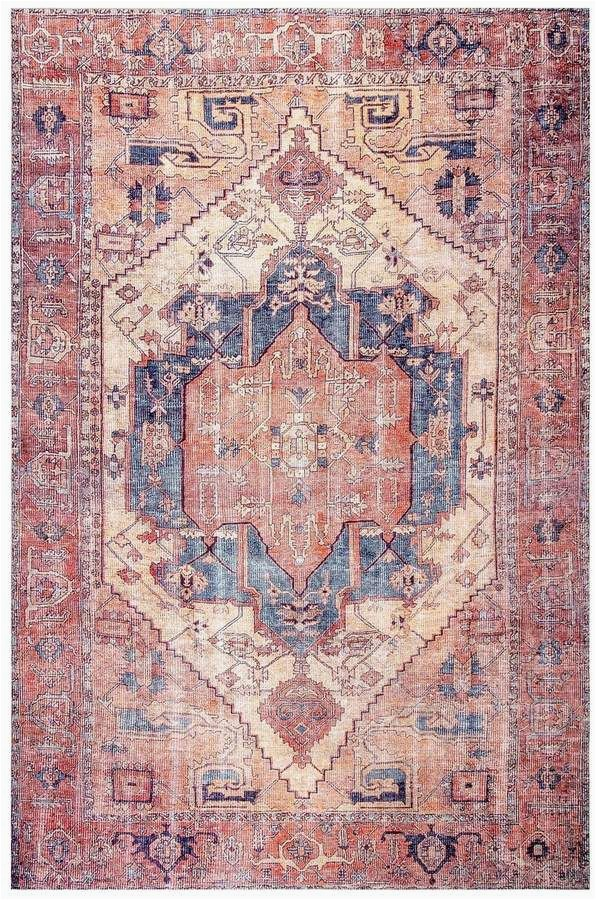 Peach and Blue Persian Rug World Market Nuloom Transitional Leslie Rug