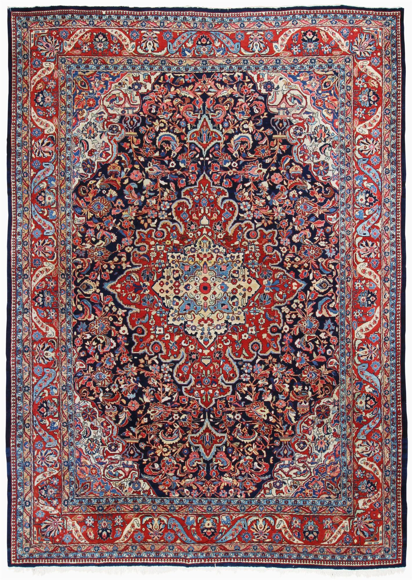 persian sarouk semi antique 10x14 red blue area rug