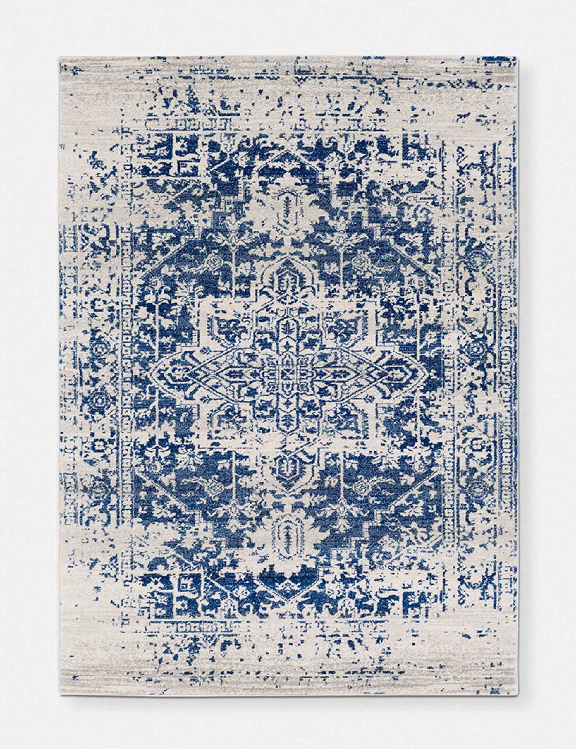 Rug White and Blue Prisha Rug White and Blue