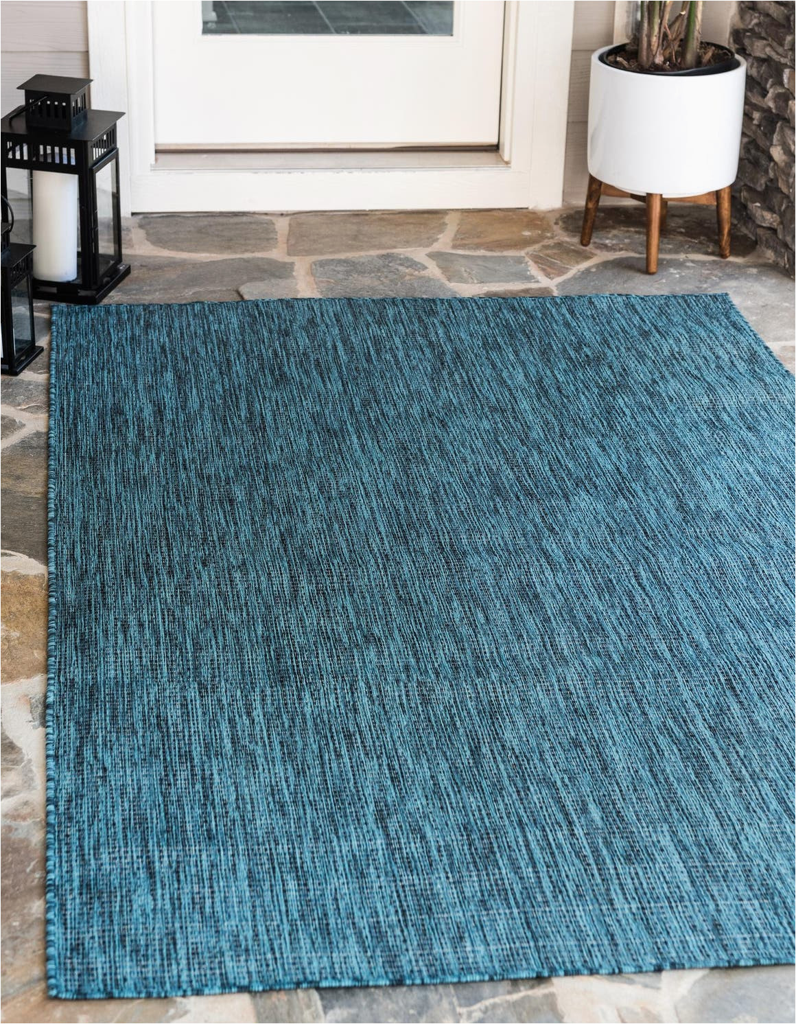 Teal and Blue Rug 4 X 6 Outdoor solid Rug