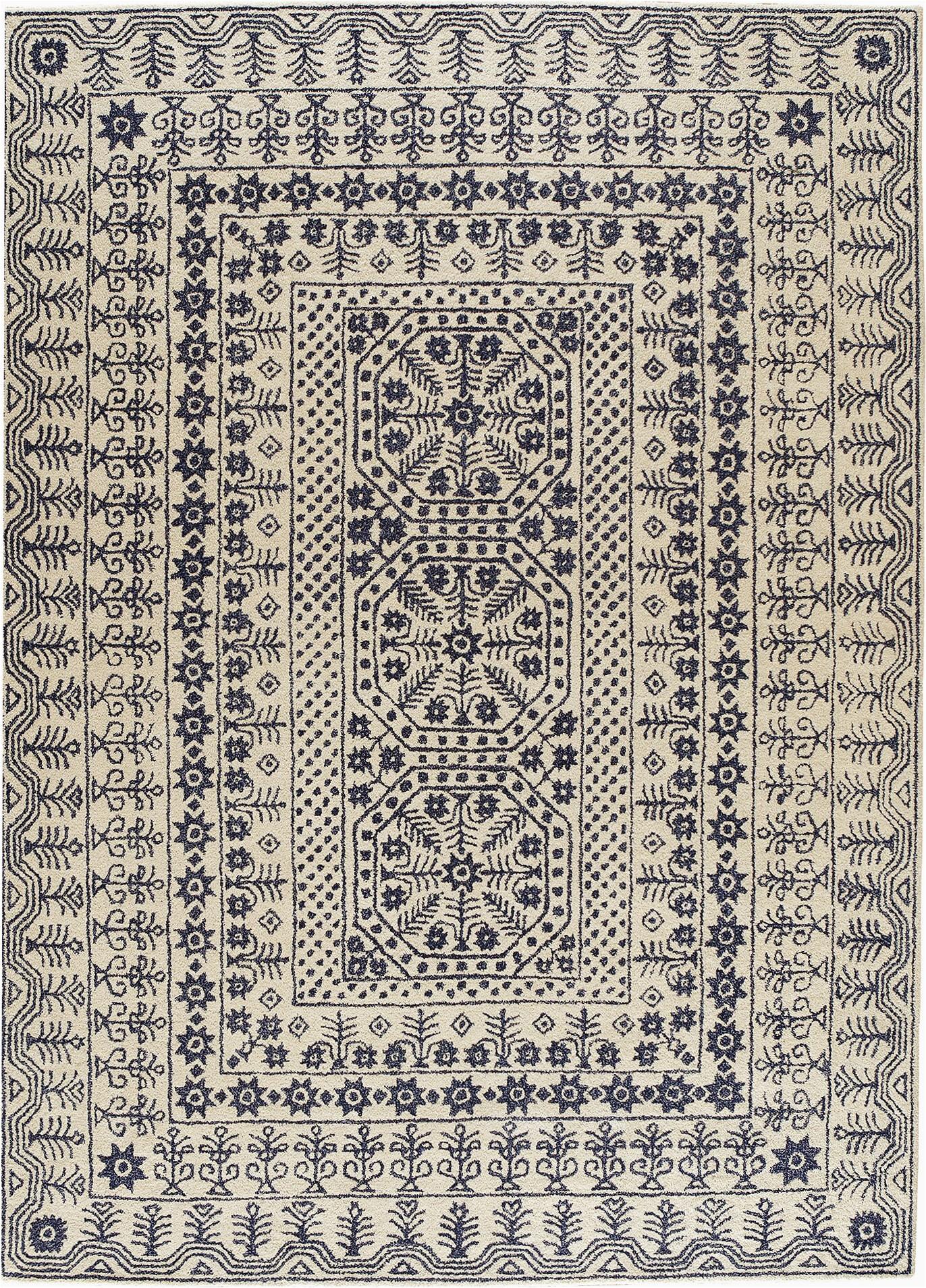Yadira Tufted Wool area Rug Yadira Ikat Handmade Tufted Wool Denim Khaki area Rug