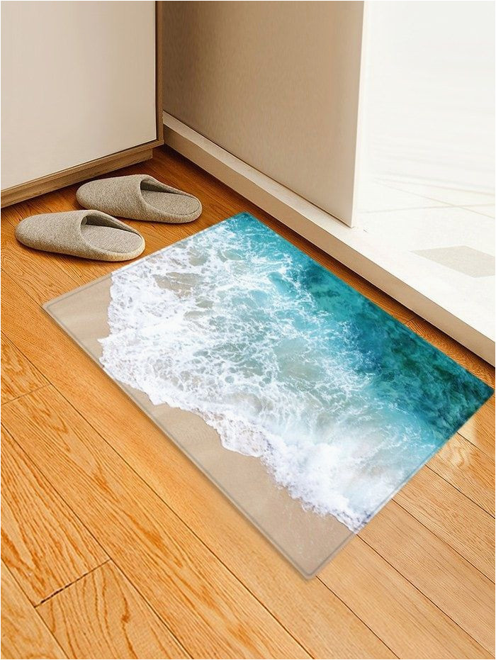 Bath Rugs that Absorb Water Beach Seaside Print Flannel Water Absorb Floor Rug Beach