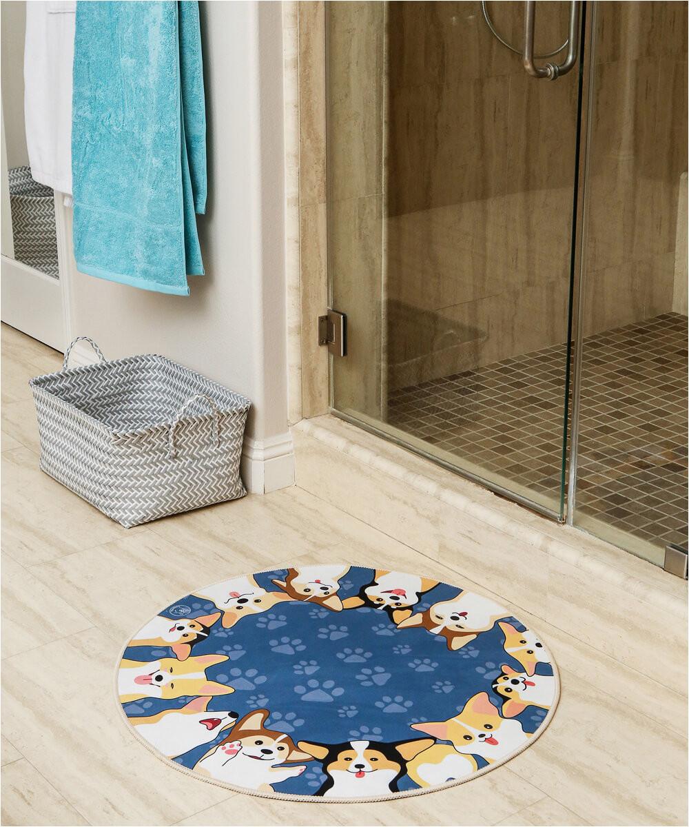 winston porter carlito corgi best friend circle non slip bath rug w000469003piid