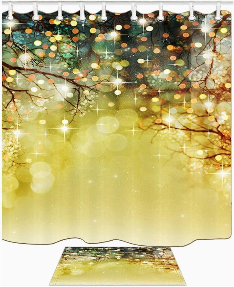 Holiday Bath Rug Set Amazon Com Kotom Christmas Glitter Wallpaper Shower Curtain