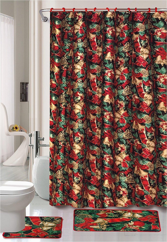 Holiday Bath Rug Set Seasons Greetings 15 Piece Shower Curtain Bath Set 1 Bath Rug 1 Contour Mat 1 Shower Curtain 12 Piece Matching Fabric Shower Curtain Rings Jingle