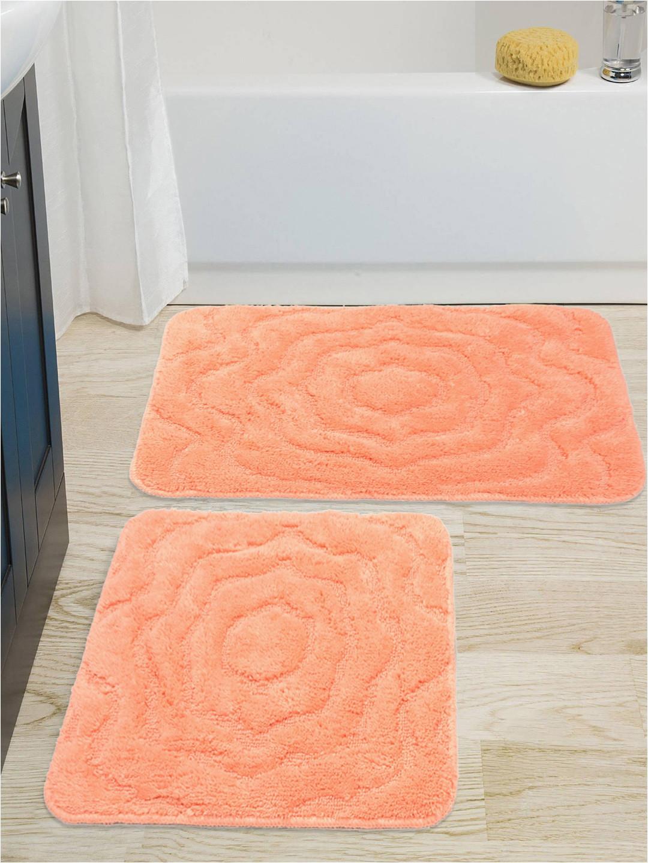 88412e39 07d3 47e8 9c78 3b9404f68a2b1542616918716 saral home set of 2 peach coloured bath rug contour 6861542616918593 1