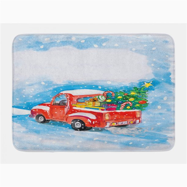 Red Truck Christmas Bath Rug Christmas Bath Mat Vintage Red Truck In Snowy Winter