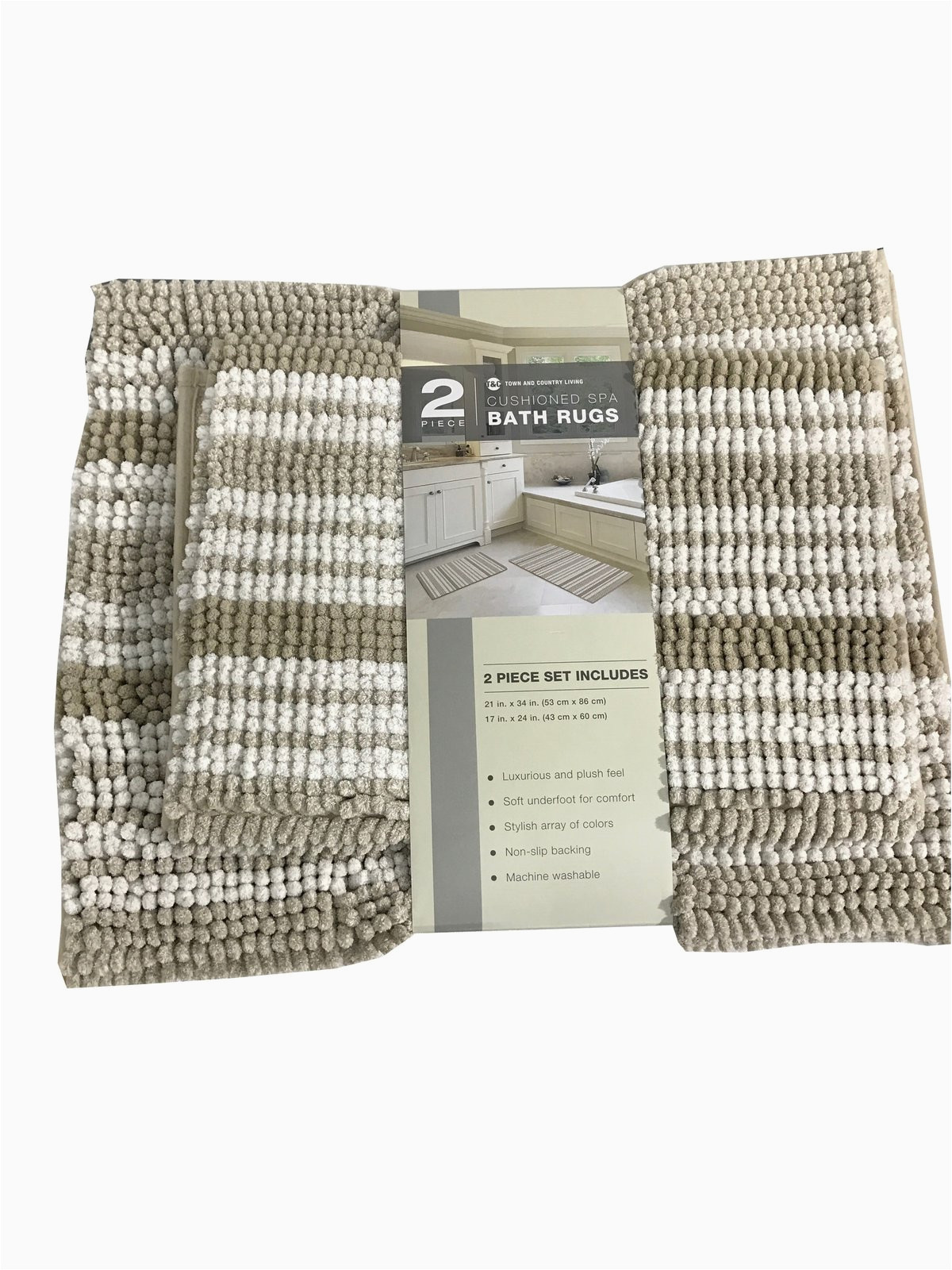 town country living 2 piece cushioned spa bath rugs set 21 34 and 17 24 in brown
