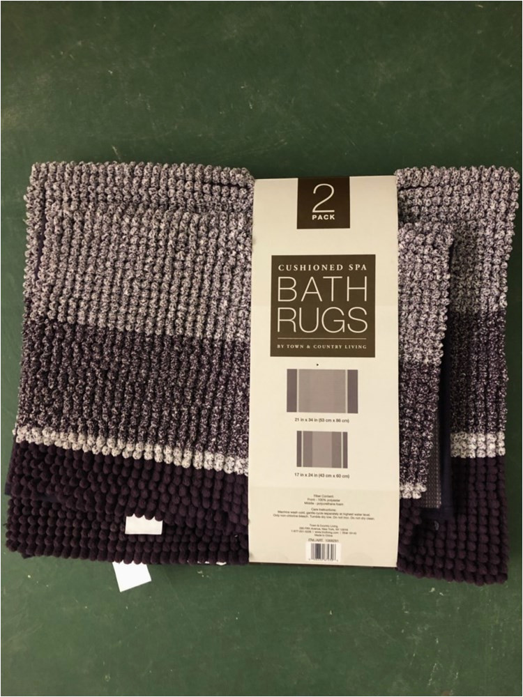 cushioned spa bath rugs by town and country living 2 pack purple appears new
