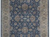 "10 X 11 area Rugs E Of A Kind King Hand Knotted Blue Gold 9 2"" X 11 10"" Wool area Rug"