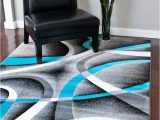 20 X 34 area Rug 2305 Turquoise White Swirls 20 X 34 Modern Abstract area Rug