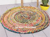 3 Foot Round area Rugs 3 Ft Bohemian Round Natural Jute Chindi area Rug