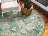 3 Foot Round area Rugs Madeline Green Vintage 3 Ft Round area Rug In 2020