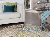 3 Foot Round area Rugs Universal Rugs 1016 Deco Round Contemporary area Rug 5 Feet 3 Inch Ivory