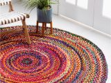 3 Ft Round area Rugs Braided Chindi Multi 3 Ft Round area Rug In 2020