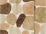 """36 Inch Square Bath Rug Chesapeake Pebbles 2pc Khaki Bath Rug Set 21""""x34"""" & 24""""x40"""""""