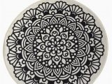 """36 Round Bath Rug Black Mandala Round Home Decor Rug soft Bath Mat Eco Friendly Gift for Her 2 Different Diameters 39"""" and 55"""""""