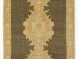 "36 X 36 area Rug Beige Brown All Wool Hand Knotted Vintage area Rug 3 X 6 6"" 36 In X 78 In"