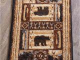 "36 X 36 area Rug Lodge Accent Rug 22"" X 36"" Cabin Bear Rustic Wilderness Scatter Mat Olefin Jute"