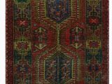 """36 X 60 area Rug E Of A Kind Lucious Hand Knotted 2010s Maroon Green Gray 3 6"""" X 12 11"""" Runner Wool area Rug"""