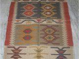 "36 X 60 area Rug Vintage Turkish Wool Jute Antalya Kilim Rug 36""x60""inches"