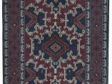 4 by 7 area Rug E Of A Kind Afghan Hand Knotted 4 X 7 Wool Navy Wine area Rug