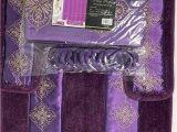 4 Piece Bath Rug Set 4 Piece Bathroom Rugs Set Non Slip Purple Print Bath Rug toilet Contour Mat with Fabric Shower Curtain and Matching Rings Daisy Purple