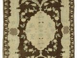 """48 X 60 area Rug Beige Brown All Wool Hand Knotted Vintage area Rug 4 10"""" X 7 6"""" 58 In X 90 In"""