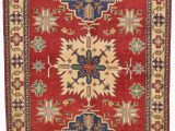 """5 by 5 area Rugs E Of A Kind Alayna Hand Knotted 5 5"""" X 8 4"""" Wool Red Beige area Rug"""