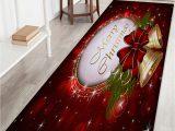 54 Inch Bath Rug Christmas Bells Printed Fleece Nonslip Bath Rug